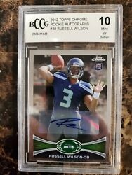 2012 Topps Chrome Auto Rookie Russell Wilson Signed Bccg 10 Beckett Beautiful