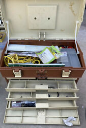 Vintage Plano Model 757 Plastic Tackle Bait Box Fishing Gear Full Of Tackle 1