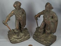 Pair Of Antique Vtg 1928 Bronze Finish Cast Iron Pirate Bookends Gift House Ny