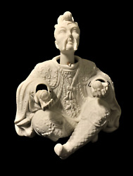 White Bisque Porcelain Nodder Of Oriental Asian Male Figurine Head And Hands Move