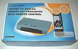 Craig Digital To Analog Broadcast Converter with Remote Control CVD508 Pre Owned