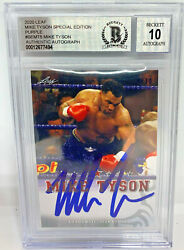 Mike Tyson Signed Leaf Trading Card Semt5 Le 10 Purple Beckett Bas Graded 10