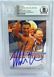 Mike Tyson Signed Leaf Trading Card Semt4 Beckett Bas Le 10 Purple Authentic