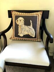 Vintage Tapestry Westie Terrier Dog Pillow Down Pillow With Zipper 15 X 17 In.