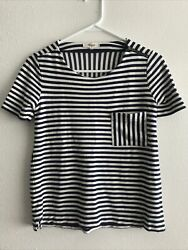 Madewell Striped Top Pocket Shoulder Zipper Blue White XS Style 05244 $11.00