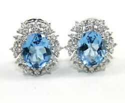 Natural Oval Blue Topaz And Diamond Halo Stud Omega Earrings 18k White Gold 9.26ct
