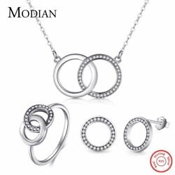 Classic Dual Round Wedding Jewelry Sets Pave With Cz 925 Sterling Silver Vintage