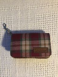 Longaberger Plaid Coin Purse Credit Card Key Ring Nwot Plaid Green Red Beige