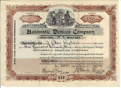 Illinois 1908 Automatic Devices Company Stock Certificate 42 J Charles Righter