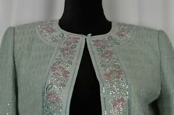 St John Evening Women#x27;s Cardigan Sz 4 Colorful Jeweled Floral Trim USA Shimmer $132.99