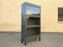 Mid Century Steel And Glass Lawyer Bookcase Refinished In Natural Steel