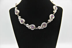 Very Rare Vintage Hubert Harmon Sterling Silver And Amethyst Necklace