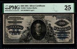 1891 20 Silver Certificate Manning Note Pmg 25 Fr.322 Blue Seal