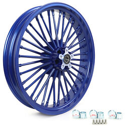 21and039and039 3.5 Blue Tubeless Front Cast Wheel 36 Fat Spokes For Dyna Softail Touring