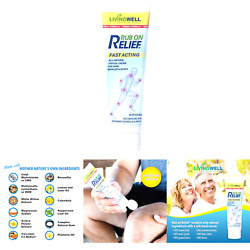 Rub On Relief Fast Acting Pain And Ache Relief Natural Cream For Muscles, Nec...