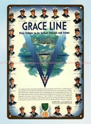 1944 Wwii Grace Line Cruise Ship Ocean Liner 21 Captains Metal Tin Sign
