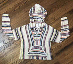 BILLABONG Baja Beach Striped Sweater Front Pockets Multicolor Boho Size Large $20.99
