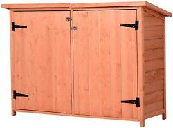 Fir Wood Storage Shed With 2 Loackable Doors, Waterproof Outdoor Tool Organizer