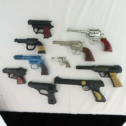 10 Vintage Cap Gun Toy Lot Hubley Mettoy Tiger Automatic Frontier Ace