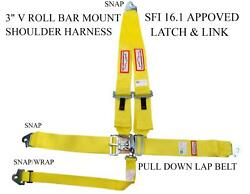 Snap Clip In Safety Harness Sfi 16.1 Approved Latch And Link 3 Yellow Webbing