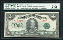 Dc-25j 1923 1 Dominion Of Canada Banknote Green Seal Pmg About Unc-55