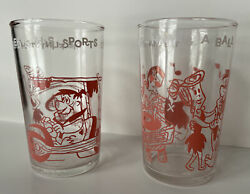 The Flintstones 1962 Drinking Glasses 'fred In His Sports Car' And 'having A Ball'