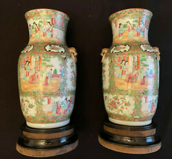 Pair Of Antique Rose Medallion Canton Vases On Wooden Stands
