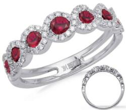 Estate .75ct Diamond And Aaa Ruby 14k White Gold 3d Seven Stone Infinity Love Ring