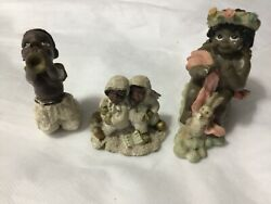 Lot Of 3 Vintage African American Angel Figurines. Youngandrsquos And Others.