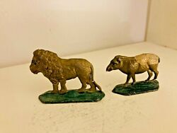 Antique Grendon Valley 1949 England Flat Lead Toy Miniature Lion And Sheep Figures