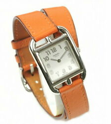 Hermes Cc1.210 Cape Cod Stainless Steel Leather Ladies Watch White Orange Square