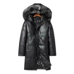 Winter Mens Real Cow Leather Duck Down Hooded Trench Coats Thicken Warm Casual L