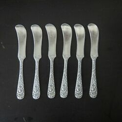 Repousse By S. Kirk And Son Sterling Silver Flat Butter Spreader Rms Mono Set Of 6