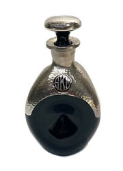 American Hand Hammered Silver Overlay Onyx Black Glass Pinched Decanter