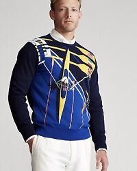 Nwt 298 Polo Menandrsquos Nautical Rowing Flag Graphic Cotton Sweater-m