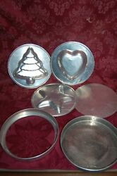 Wear-ever Round Cake Pan 9 Layer Removable Bottoms Heart, Christmas Tree Star