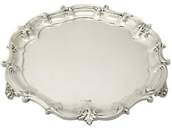 Sterling Silver Salver - Antique George V Mappin And Webb Ltd Sheffield England