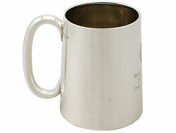 Indian Colonial Silver And Glass Pint Mug - Vintage 1946