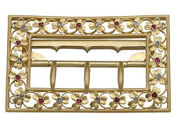 Victorian 0.18 Ct Diamond And 0.19 Ct Ruby 20 Ct Yellow Gold Belt Buckle