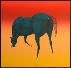 Lew Davis Big Blue Signed Numbered Lithograph Art Print Of A Horse Make Offer