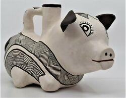 Ethel Shields Native American Figural Pottery Pig Vessel Acoma New Mexico Effigy