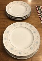 A+ English Garden 10 Dinner Plates Set Of 7 Fine China Japan 1221 Blue Silver