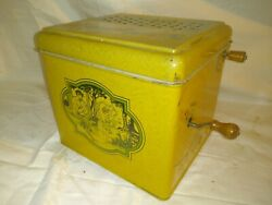Antique Tin Litho Crank Paper Roll Organ Box Musical Toy Early 1900's Music Box.