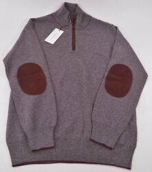Luciano Barbera Nwt 1/4 Zip Sweater Size 50 M Us Burgundy And Gray Pure Cashmere