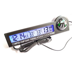 Lcd Digital Car Compass Led 12v Voltage Meter Time Clock Thermometer W/backlight