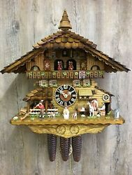 Cuckoo Clock Black Forest House With Moving Cow Milker And Turnin.. Ho 8656t New