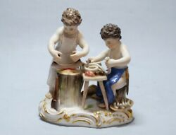 Very Rare 19th Ct. Meissen Porcelain Figural Group Two Child Butcher T 17 Nr.