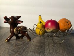 Vintage Norcrest Japan Donkey And Wire Cart With Fruit Rare Anthropomorphicandnbsp