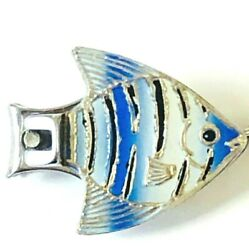 Vintage 60s Fish Nail Clipper Keychain Silver Blue Enamel Made In Japan