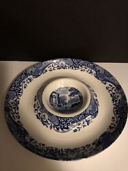 Spode Blue Italian Chip/dip Bowl Tray New Blue And White 14 Inches
